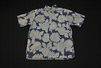 Reyn Spooner Hawaiian Shirt Aloha Blue Floral Print Men's XL VTG