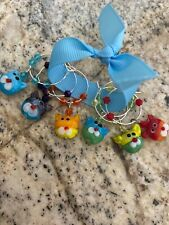 Cats Cats Cats Wine  Glass charm rings  Set Of 6
