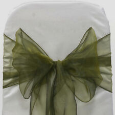 100pc OLIVE GREEN Organza Chair Sash Bows for Wedding Banquet Party Event Decor