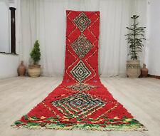 Moroccan Handmade Vintage Runner Rug 2'8x14 Berber Geometric Tribal Red Wool Rug