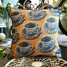 Mustard Double Sided Teacup & Saucer Cushion With Piping  Created by thetinkan