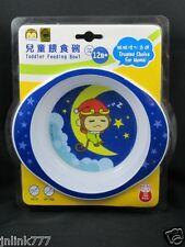 New Yo Yo Monkey Toddler Feeding Bowl-BPA Free-Blue Trim