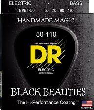 DR BKBT-50 BLACK BEAUTIES COATED BASS STRINGS, HEAVY GAUGE, TAPER 4's - 50-110