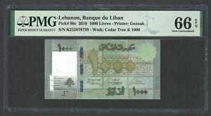Lebanon 1000 Lira 2016 P90c Uncirculated Grade 66