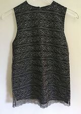 Vintage 1990s Zang Toi Sleeveless Black Silk Blouse Silver Metallic Lace Size 4