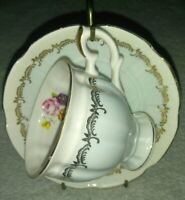 Crown Staffordshire Fine Bone China Footed Tea Cup & Saucer Floral England vtg