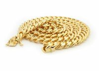 """MENS MIAMI CUBAN LINK CHAIN BOX LOCK 14K GOLD PLATED 30"""" NECKLACE"""