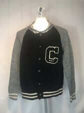 WHO.A.U  Black & Gray Vintage Style letterman Sweater Women's Size Large (BB)