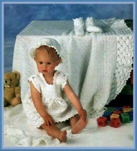 CROCHET PATTERN baby blanket lacy dress DK Christening shawl Bootees hat (639)