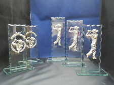 GOLF DAY EVENT PEWTER TROPHIES 5 TOTAL ON JADE GLASS ENGRAVED FREE