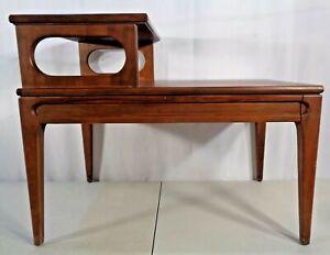 VTG Mid Century Modern Mersman 2 Tier End Side Table Hardwood Formica Tops 1960'