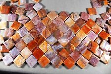 "CLASSIC CRAB FIRE AGATE 20MM DIAGONAL DRILLED DIAMOND SHAPE BEADS 15"" STRAND"