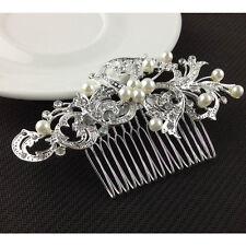 Fashion Silver Hair Comb Pearl Rhinestone Alloy Elegant Girls Wedding jewelry