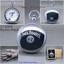 Jack Daniels Pocket Watch 2009 Edition Silver Steel Polish Men Chain Wood Box 31