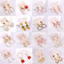 Women Girls  Korean Style Tassel Leaves Face Palm Fish Bone Dangle Earrings