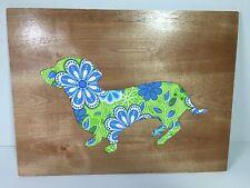 Adorable dachshund Profile, 9x12 in colorful cotton design, daschund art