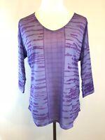 NWT Prana Aleah Top in Purple Fog Striped Semi-Sheer 3/4 Sleeve Size Small