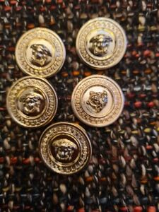 ⭐100% Auth Lot of 5 pc VERSACE  Replacement Buttons MEDUSA GOLD tone 24mm👄