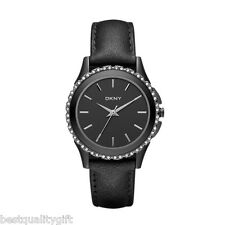 NEW-DKNY GUNMETAL LEATHER BAND+BLACK IP S/STEEL+CRYSTAL DIAL WATCH-NY8704+TAG