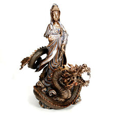 "KWAN YIN ON DRAGON STATUE 12.5"" Buddha Goddess Compassion HIGH QUALITY Quan Guan"