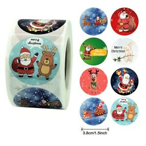 Large Merry Christmas Stickers Presents Gifts Xmas Santa Rudolph and Snow Hare