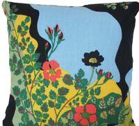 "Josef Frank Fabric Cushion Cover Anakreon Dark Printed Linen Fabric Square 16"""