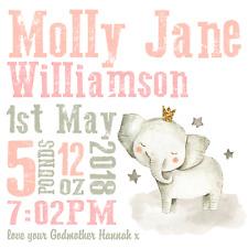Personalised Elephant Birth Details Canvas Print - Baby Gift - Nursery Wall Art