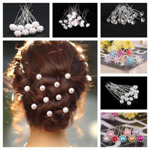 20pcs Wedding Party Hair Pins Bridesmaid Diamante Pearl Bridal Clips Grip New