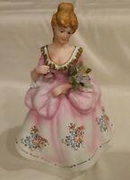 Vintage Lefton China Porcelain Figure Hand Painted - Lady w/ Flowers 40's KW7677