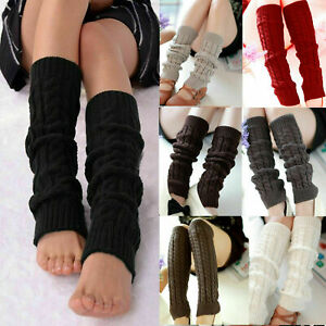Women Ladies Winter  Warm Long Leg Warmers Cable Knit Knitted Crochet Long Socks