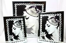 Luxury Mirror Glass Picture Photo Frame With Crystal Bean 3 Size Available