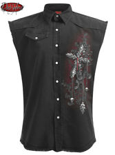 Spiral Direct CROSS OF DARKNESS SLEEVELESS STONE WASHED WORKER/Shirt/Skull/Goth