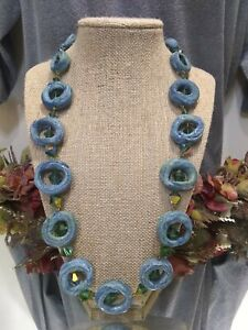 Artisan Crafted Dyed Clay Aurora Borealis BiCone Glass Beaded Necklace
