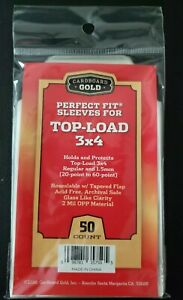 50 Perfect Fit Sleeves for 20-60 PT Regular 3 X 4 Top-Loaders CBG