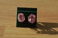 10.56ct Sparkling Pink Kunzite Solitaire Earrings Yellow Gold Plated 10x9mm VS1
