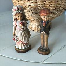 """Vintage Hand Carved Wood Anri Bride & Groom Figurines 6.5"""" tall"""