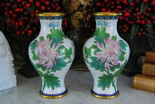 WONDERFUL PAIR OF OLD CLOISONNE ORIENTAL FLOWER VASES DONE WITH FLOWERS ON WHITE