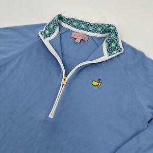 Masters Peter Millar Womens Blue 1/2 Zip Pullover Sz M Golf Augusta Pima Cotton