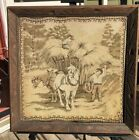 Vintage Belgian Draft Horse Hay Wagon Tapestry Wall Hanging Carved Rustic Frame