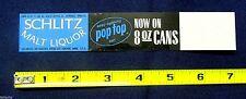 Vintage 1966 Sign Schlitz Malt Liquor Beer Pop Top 8 oz Can advertising plastic