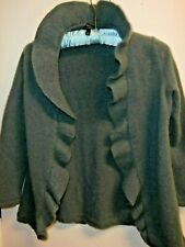 Talbots size S petite Pure Cashmere  Blue Green  3/4 sleeve cardigan sweater
