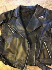 Womens Black Vegan Leather Jacket 50s Rockabilly T'Bird Grease Greaser Costume L