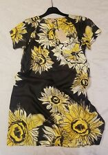 New No.21 silk dress £650 floral yellow black 100% silk with pockets size M