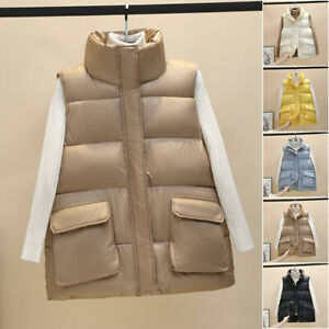 2021 Women Quilted Zip Up Gilet Waistcoat Padded Winter jacket Vest Bodywarmer