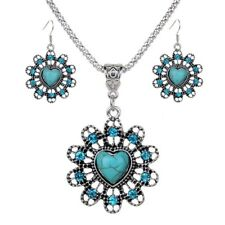 Hook Silver Plated Rhinestone Turquoise Hollow Out Necklace Sets Earrings