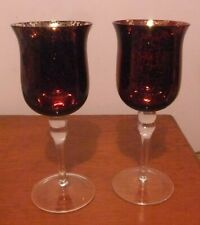Pair of Red Glass Candle Holders with Speckled Gold spatter Pattern. Approx. 9.5