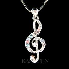 w Swarovski Crystal Pastel TREBLE g CLEF Musical Piano music NOTE Charm Necklace