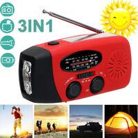 Emergency Solar Hand Crank AM/FM/NOAA Weather Radio LED Flashlight Charge #3398