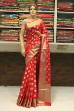 Indian Traditional Royal Banarasi Silk Saree Red Sari Bridal Party Wear Dress