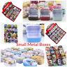 Small Metal Tin Box Opening Lid Storage Pill Box Coin Jewellery 59L x 41W x 26H